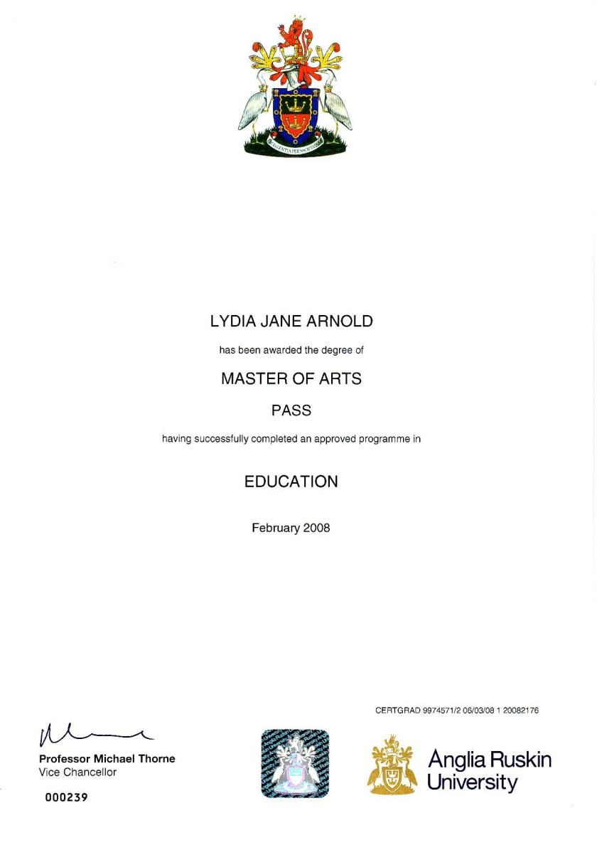 Lydia Arnold Masters Certificate